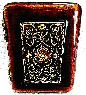 "Vintage Authentic Signed ""Monet"" Enamel, Crystal, Vanity, Mirrored Compact Case"