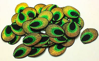New 30pcs Peacock eye Embroidered Applique Iron On Sew On Patch Green Color