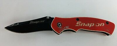"Snap On 870992 G10 Handle 2-3/8"" Folding Pocket Knife Lock Blade Red White"