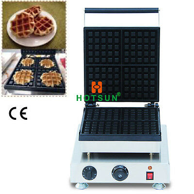 Commercial Non-stick Electric 4pcs Belgian Liege Waffle Maker Iron Baker Machine