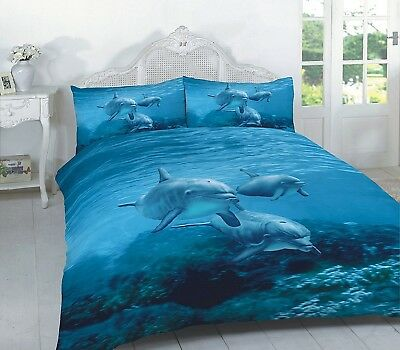 (King, Dolphin) - Duvet Cover Set 3D Animal Print Effect Quilt Bedding Set New