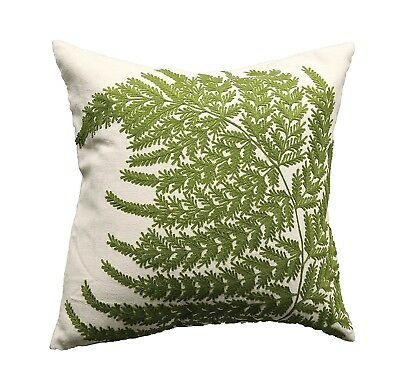 Creative Co-Op DA6374 Botanist Square Embroidered & Printed Fern Pillow