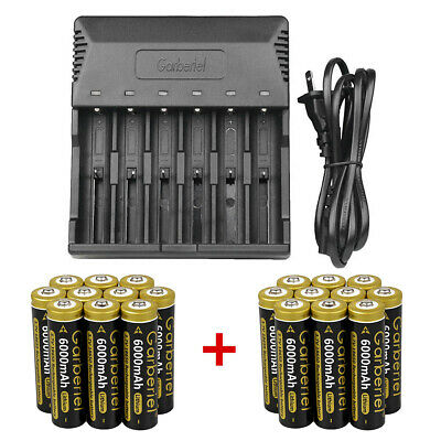 Lot 18650 Battery 6000mAh 3.7V Li-ion Rechargeable Batterries &Charger for Torch
