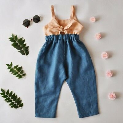 Fashion Toddler Kid Baby Girls Bow Summer Romper Jumpsuit Outfit Clothes US