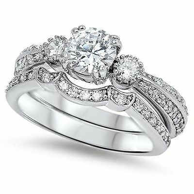 925 STERLING SILVER 3 Stone Engagement Wedding Bridal Ring Set Size 9 10 / R T