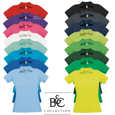 B&c Women's Polo Shirt Feminine Fit Fitted Top Smart 100% Soft Cotton Colours