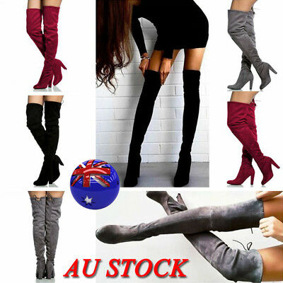 AU Women Over The Knee Thigh High Heel Boots Zip Stretch Suede Ladies Shoes Size