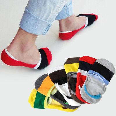 6 Pairs Men Loafer Boat Sock Invisible Nonslip Liner Low Cut Cotton Socks