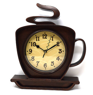 Coffee Cup Design Kitchen Wall Clock Mahogany Wood Effect Retro Funky Novelty