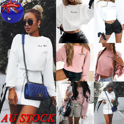 AU Women Long Sleeve Crop Top Hoodie Casual Loose Ladies Sweater Jumper Blouse