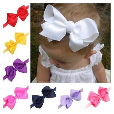 US Infant Baby Girls Solid Hair Band Headwear Bowknot Bow Headband Accessories