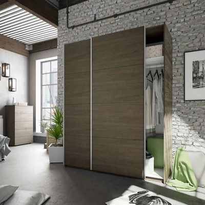 Anita 2 Door Sliding Wardrobe Closet 150cm Large Dark Oak Smoothglide