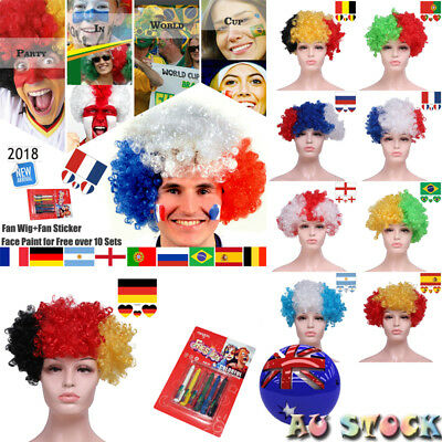 AU World Cup Football Fans Curly Wigs Tattoo Sticket Face Paint Costume Cosplay