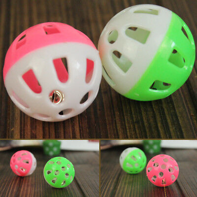 1-10x Plastic Cat Kitten Pet Play Balls With Bell Pounce Chase Rattle Toy useful