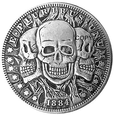 Three Faces of Death Morgan Dollar Heads & Tails Good Luck Challenge Coin