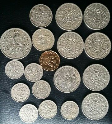 Job Lot Of Uk Old Coins Half Crown, Shillings Six Pence Three Pence
