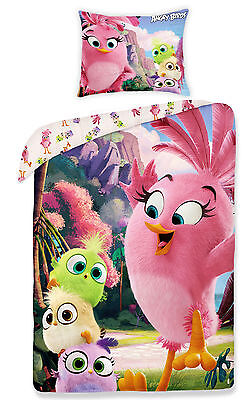 ANGRY BIRDS STELLA Single Bed Duvet Cover Set 100% COTTON cute pink
