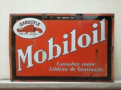 XXL MobilOil Gargoyle 1920s Enamel Porcelain Sign Mobil Oil Gas Tin Can Antique