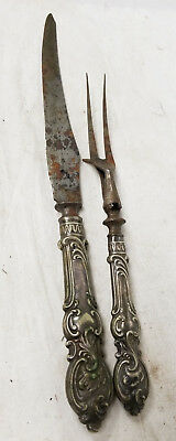 Antique Vintage Sheffield Silver Pair of Serving Knife and Fork Utencils England