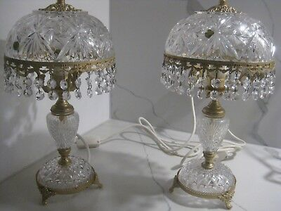 Original Solid Cut Crystal French Dome Table Lamps