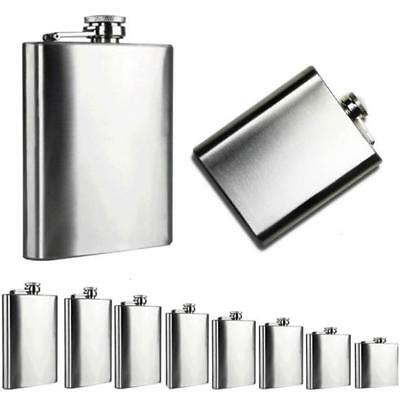 4-18 oz Stainless Steel Pocket Hip Flask Alcohol Whiskey Liquor Screw Cap Cup AM