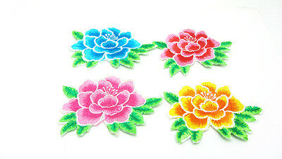 New 4pcs Embroidered Peony Flower Applique Iron On Sew On Patch Clothing  Mixed