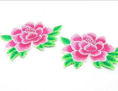 New Embroidered Flower Applique Iron On Sew On Patch Clothing  Peony Pink