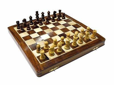 Classic Chess Inlaid Wood Board Game AUS with Wooden Chess Set 10""