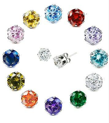 Genuine 925 Crystal Sterling Silver Cubic Zirconia Stud Earrings Round Solid