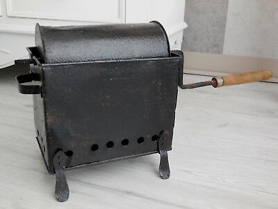 antique french large tole primitive coffee roaster cylindrical with his brazier