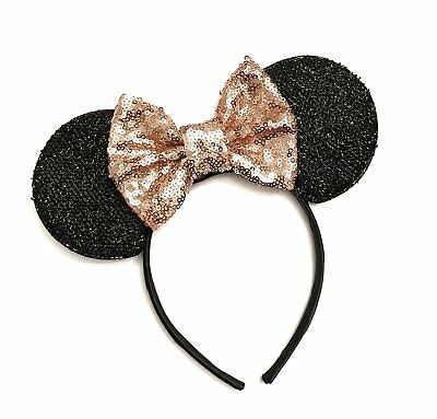 Rose Gold Mickey Ears, Sparkly Mickey Ears, Rose Gold Minnie Ears, Rose Gold