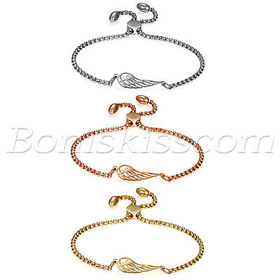 Womens Charm Stainless Steel Hollow Angel Wings Freely Adjustable Bracelet Chain