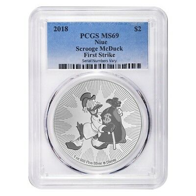 2018 1 oz Niue Silver $2 Disney Scrooge McDuck PCGS MS 69 First Strike