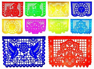 Festive Large PLASTIC ANY Occasion Mexican Papel Picado Banner (15 Feet Long)