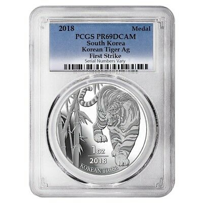 2018 1 oz South Korea Silver Tiger PCGS PF 69 First Strike