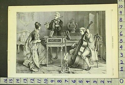 1876 Music Instrument Cello Violin Grand Piano Band Orchestra Love Print Rs40