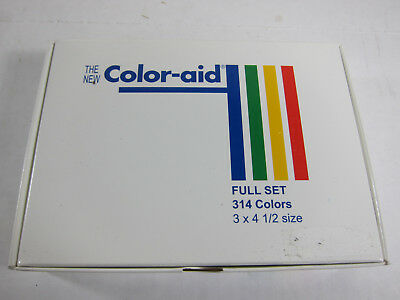 "Color Aid Full Set 314 Color Swatches 3"" x 4.5"" New in Box w/Instruction Booklet"