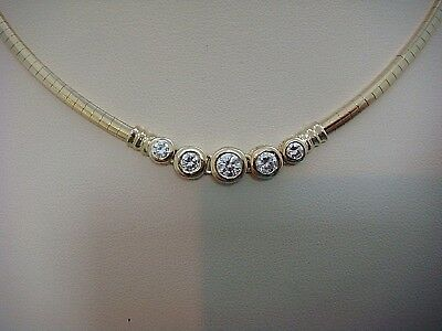 High End 14K Yellow Gold Omega Necklace With 5 Bezel Set Diamonds, 20.4 Grams