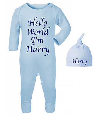 Personalised Hello World I'm Name Babygrow and Hat Set Hospital Outfit New Baby