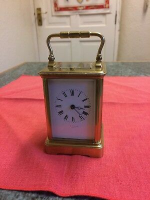 Brass carriage clock, late 19th century, hour and a half hour strike