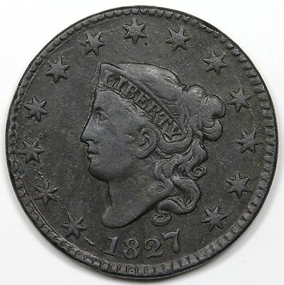 1827 Coronet Head Large Cent, F-VF detail