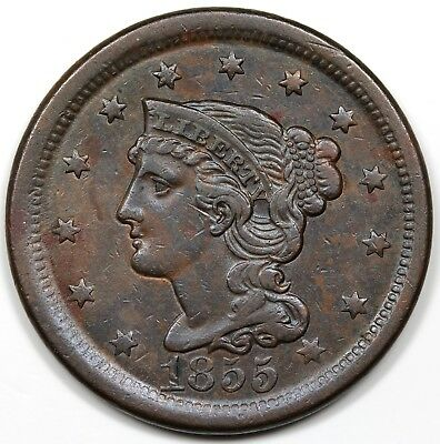 1855 Braided Hair Large Cent, Upright 55, XF