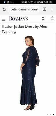 3a4937aa21fc0 ALEX EVENINGS MOCK Embroidered Lace ALine Gown Dress SZ 12P Antique ...