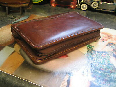 vintage retro day timer antique brown leather zip around filofax