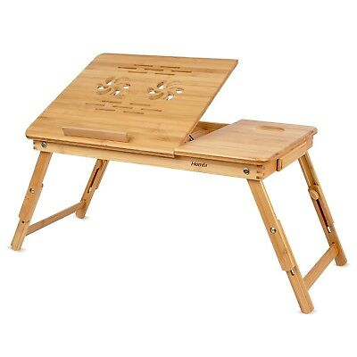 (Natural Color) - HOMFA Bamboo Laptop Desk Adjustable Portable Breakfast