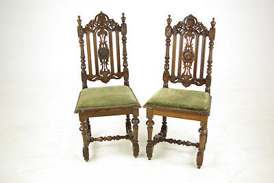 Carved Oak Side Chairs, Pair Hall Chairs, Renaissance Chairs,1880,B1099 REDUCED!