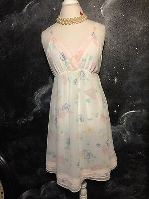A Pea In The Pod Maternity Sleep Night Gown Slip White Pastel Flower Print Soft