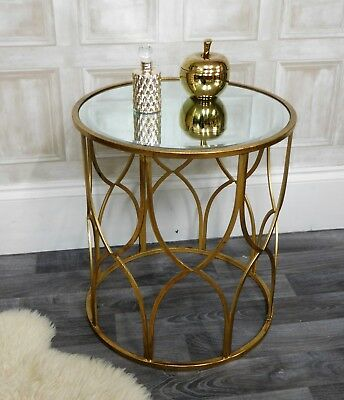 Antique gold metal round mirrored console side table shabby vintage chic home