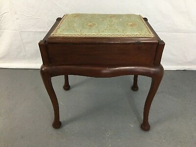 Antique ottoman piano stool on cabriole legs #1875U