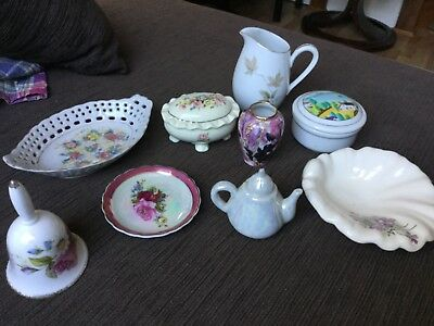Lot of 9 Oriental porcelain trinket dishes and jars From Mums collection VGUC